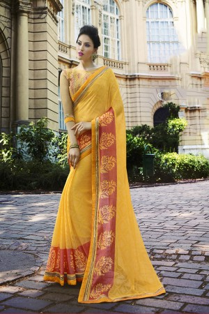 Yellow Brasso Saree with Blouse