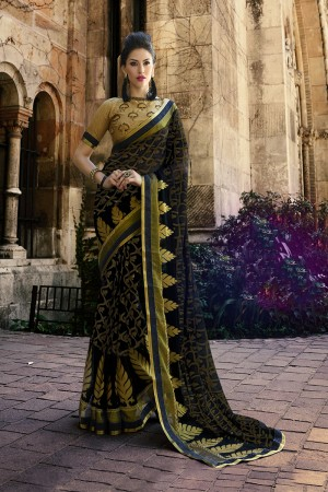 Black Brasso Saree with Blouse