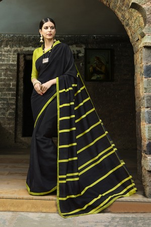 Black Cotton Saree with Blouse