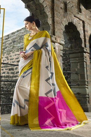 Multicolor Cotton Saree with Blouse