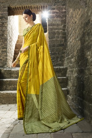 Yellow Cotton Saree with Blouse