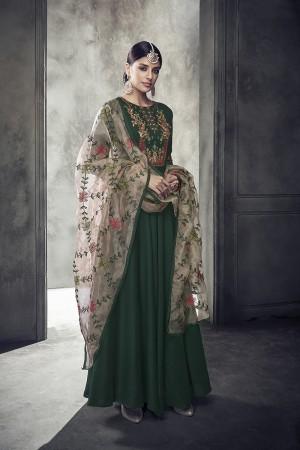 Dark Green Muslin Salwar Kameez