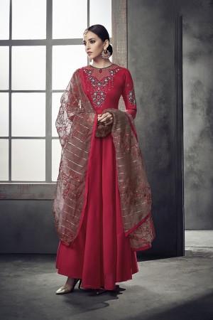 Red Muslin Salwar Kameez
