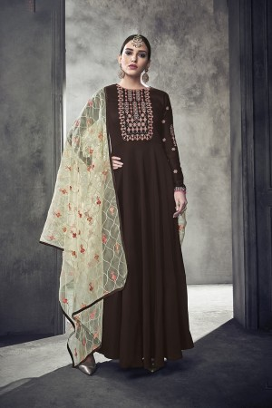 Brown Muslin Salwar Kameez