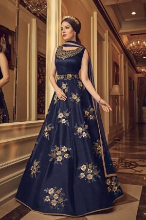 Royal Blue Banglori Silk Salwar Kameez