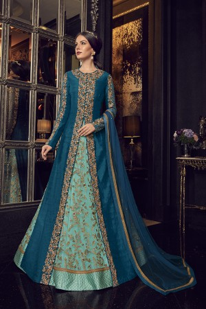 Sky Blue & Dark Blue Handloom Tusser Silk & Net Salwar Kameez