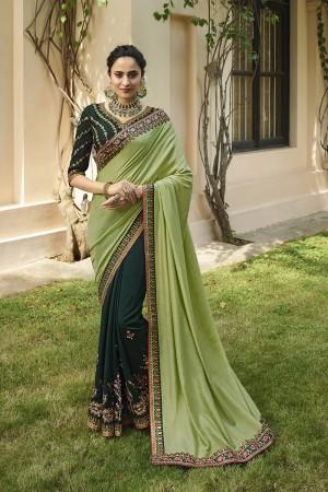 Pista & Green Silk Saree with Blouse
