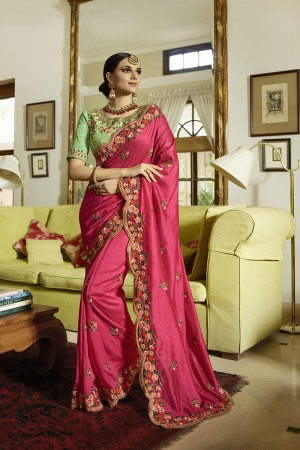 Rani Pink Vichtri Silk Saree with Blouse