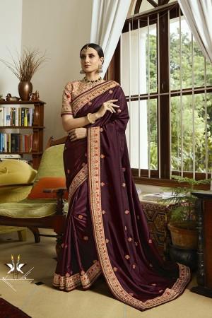 Maroon Luxury Silk Saree with Blouse