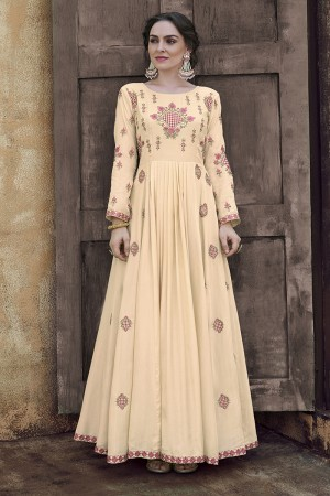 Beige Rayon Gown