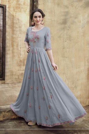 Grey Rayon Gown