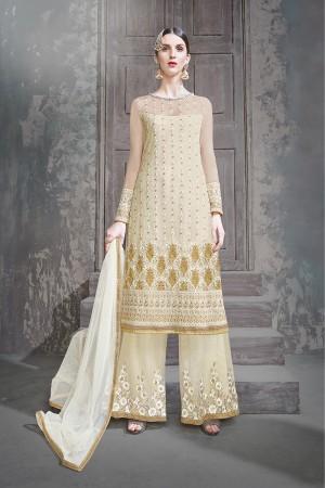 Off White Net Semi Stitch Salwar Kameez