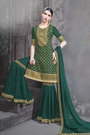 Dark Green Georgette Semi Stitch Salwar Kameez