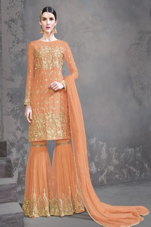Orange Georgette Semi Stitch Salwar Kameez