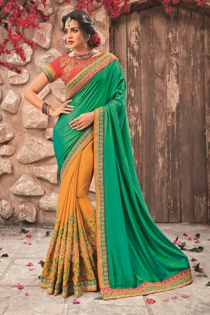 Green&Mustard Georgette & Chiffon Saree with Blouse
