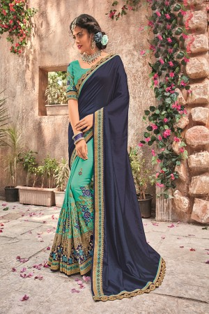 Blue&Rama Georgette & Chiffon Saree with Blouse