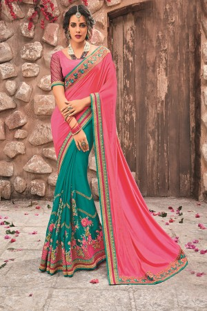 BottelGreen&Pink Georgette & Chiffon Saree with Blouse