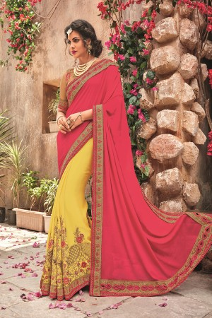 Yellow&Pink Georgette & Chiffon Saree with Blouse