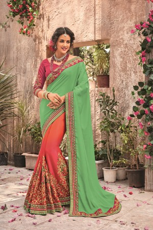 ParrotGreen&Oragre Georgette & Chiffon Saree with Blouse