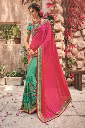 RanPink&Rama Georgette & Chiffon Saree with Blouse