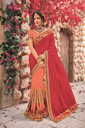 Soloman&Red Georgette & Chiffon Saree with Blouse
