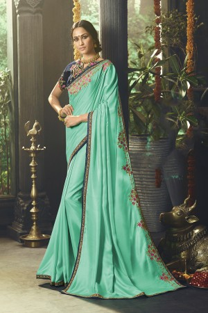 Rama Satin Saree with Blouse