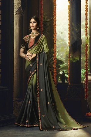Mehendi Barfi Silk Saree with Blouse
