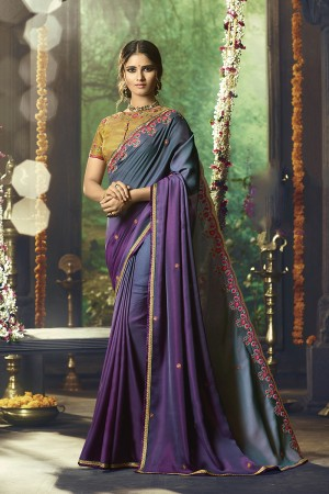 Wine&Greey Barfi Silk Saree with Blouse