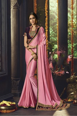 Pink Barfi Silk Saree with Blouse