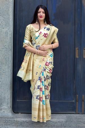 off white  Banarasi Silk Saree with Blouse
