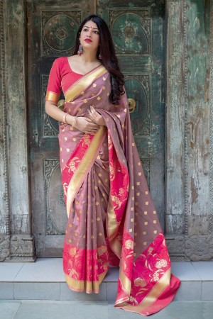 Gray Banarasi Silk Saree with Blouse