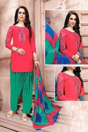 Red Glaze Cotton Dress Material