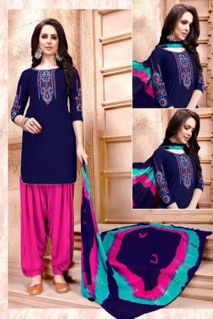 Blue  Glaze Cotton Dress Material