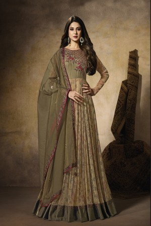 Mehndi Digital Print Laycra & Slub Silk Anarkali Suit