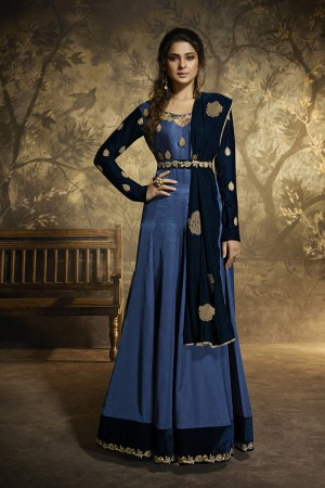 Dark sky ble Satin Silk Anarkali Suit