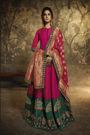 Rani pink Two Tone Silk Anarkali Suit