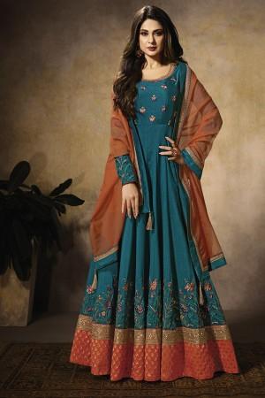 Peacock blue Silk &Banarashi Butti Silk Anarkali Suit