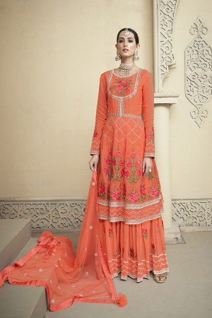 Orange Viscose Upada Salwar Kameez