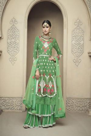 Green Viscose Upada Salwar Kameez