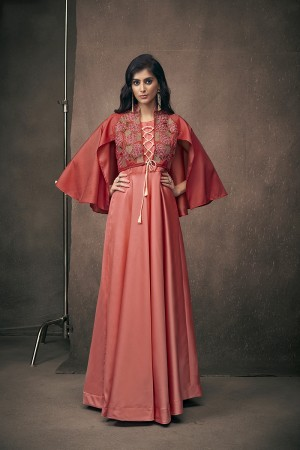Peach Satin Silk Readymade Gown