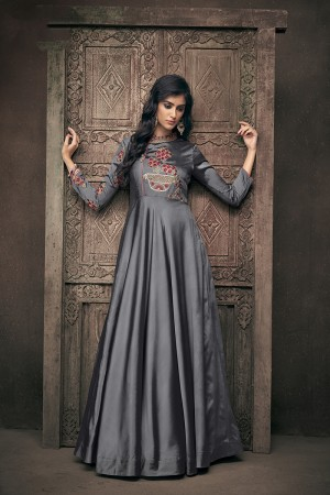 Grey Satin Silk Readymade Gown