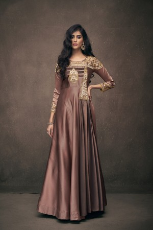 Chocolate Satin Silk Readymade Gown