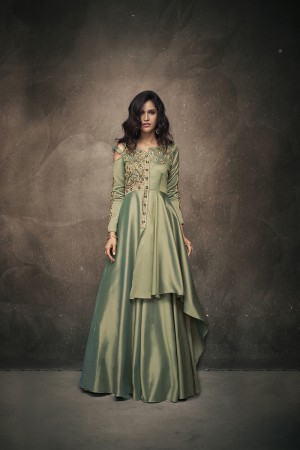 Pista Green Satin Silk Readymade Gown