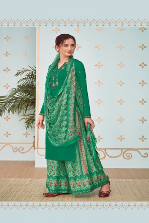 Green Cotton Satin Salwar Kameez