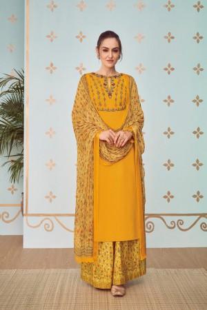 Mustard Cotton Satin Salwar Kameez