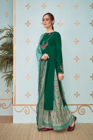 Dark Green Cotton Satin Salwar Kameez