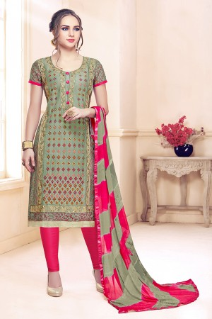 Mehendi Cotton Dress Material