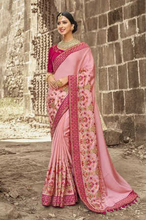 Pink Satin Georgette Saree with Blouse