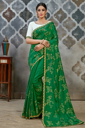 Dark Green Two Tone Silk Saree with Blouse