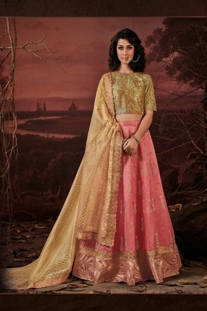 Pink Raw Silk Lehenga Choli